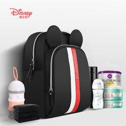 Bolsa de alimentación con biberón aislante multifunción de Disney con USB, bolsas de pañales para madres, bolsa para cambiar pañales