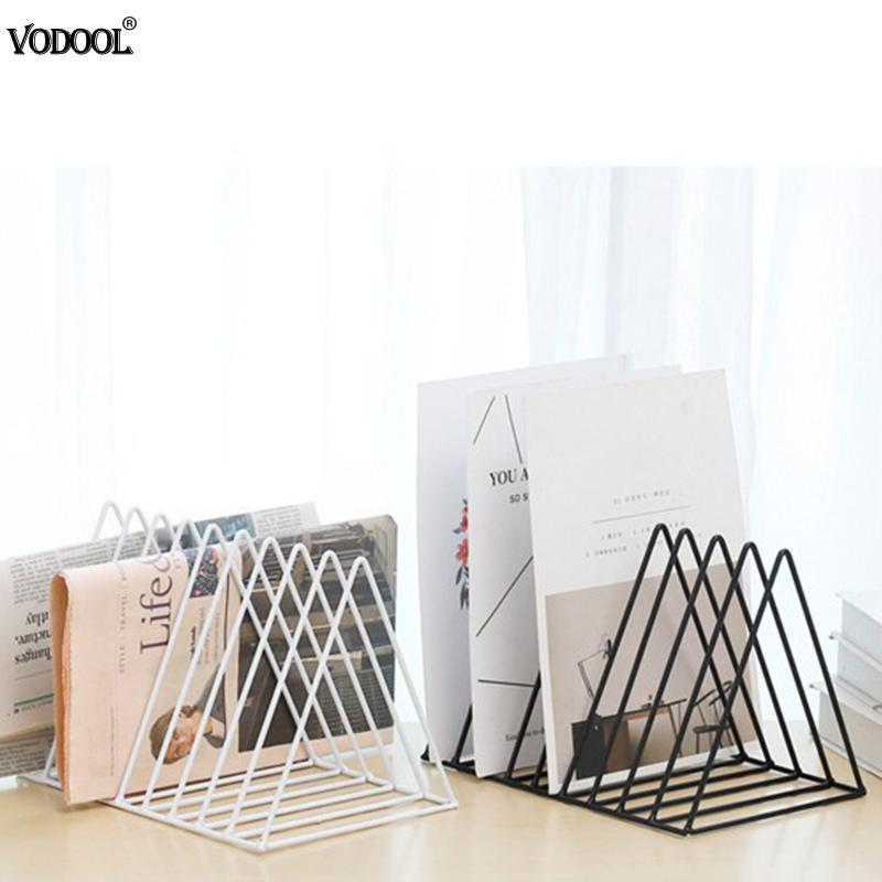 Solid 9 Grid File Storage Shelf Book Stand Desktop Nordic Wrought Iron File Book Holder Office Desk Storage Book Organizer Handy