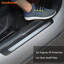 Car styling Carbon Fiber Rubber Door Sill Protector Goods For  Toyota rav4 Car Accessories