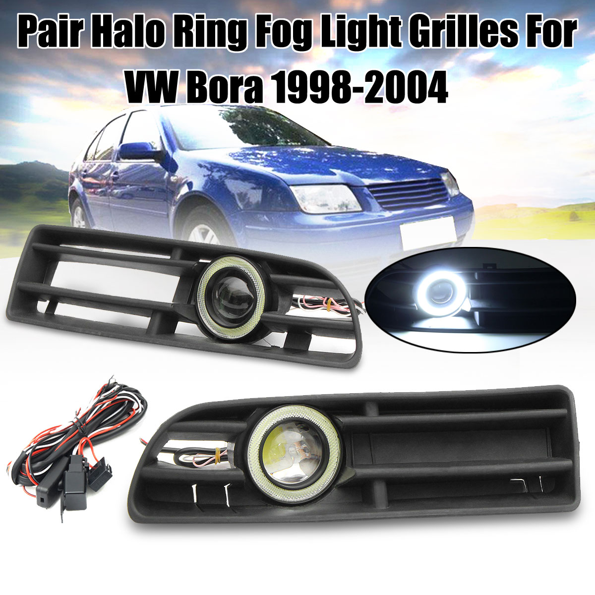1Pair White LED Fog Light Front Bumper Grilles With Wire For VW Bora 1998 1999 2000 2001 2002 2003 2004 Angel Eyes Lamp