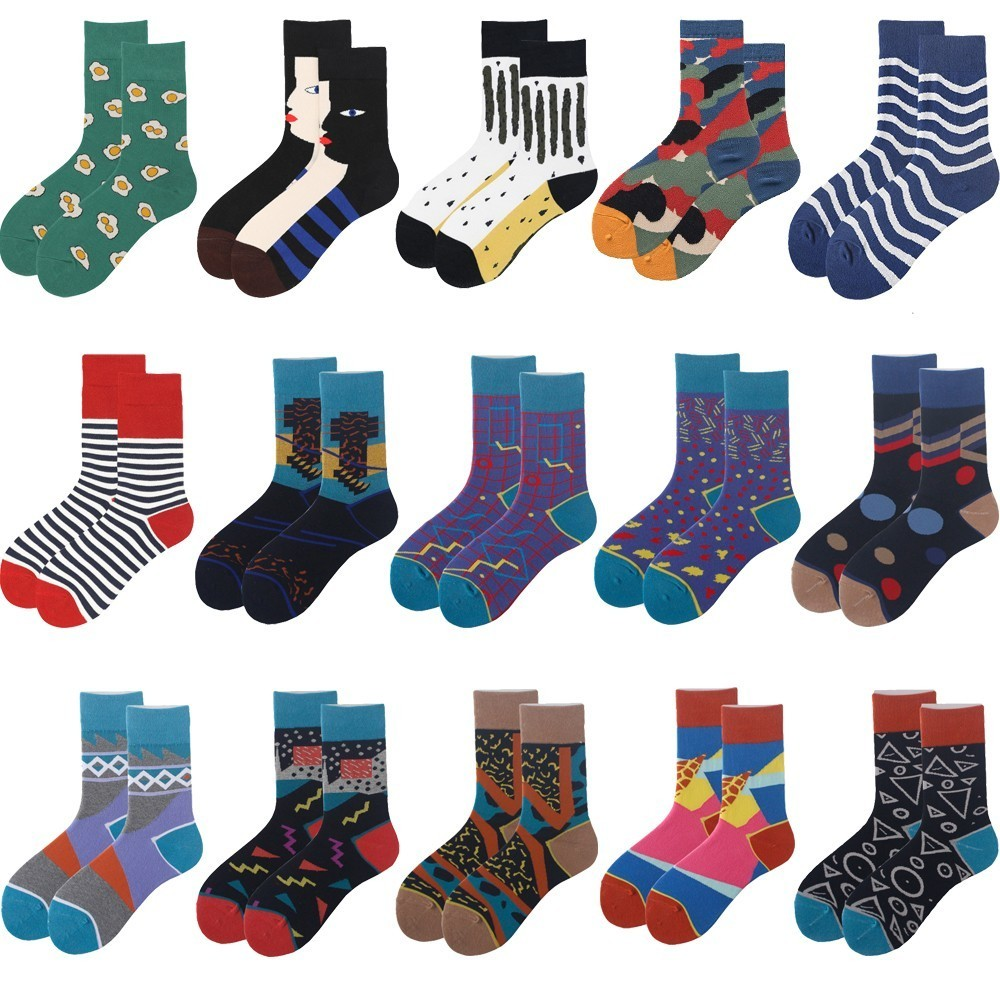 Happy Socks Women Art Abstraction Pattern Original Sock Striped Plaid Fashion Women Funny Sock For Spring Summer