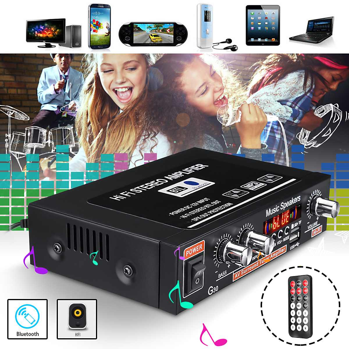 DC 12V Power bluetooth HiFi Amplifier Home Theater Stereo Amplificador Audio Car Amplifiers Support  FM TF Card AUX MP3 PlayerDC 12V Power bluetooth HiFi Amplifier Home Theater Stereo Amplificador Audio Car Amplifiers Support  FM TF Card AUX MP3 Player
