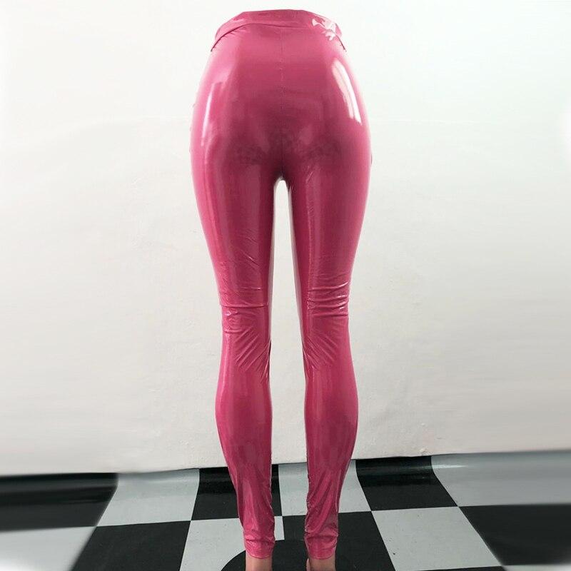 3acf79321a768 NewAsia Pink PU Leather Pants Women Trousers Winter Plus Size High Waist  Pants Black Faux Leather
