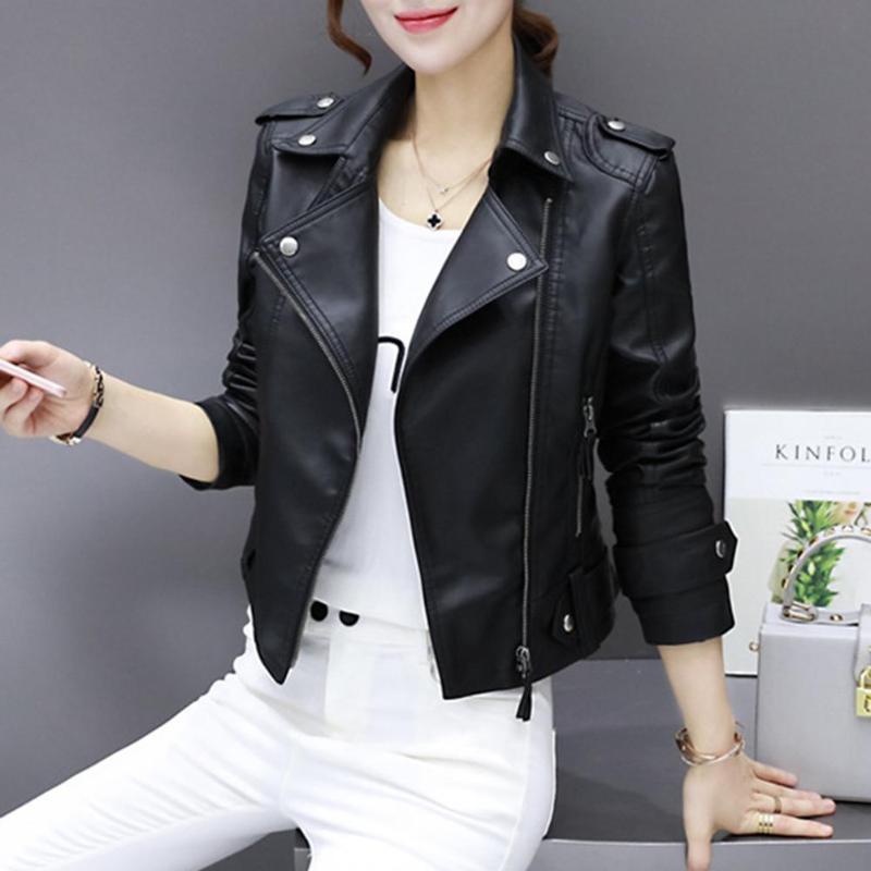 2018 Stylish PU Leather Women   Jacket   Autumn Winter Black Faux Leather   Jackets   Zipper   Basic   Coat Turn-down Collar   Jacket