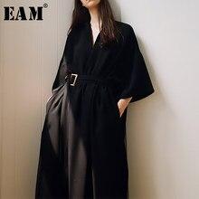 [Eem] 2021 yeni bahar yaz v yaka yarım kollu siyah gevşek bel bandaj cep uzun büyük boy elbise kadın moda gelgit JT063