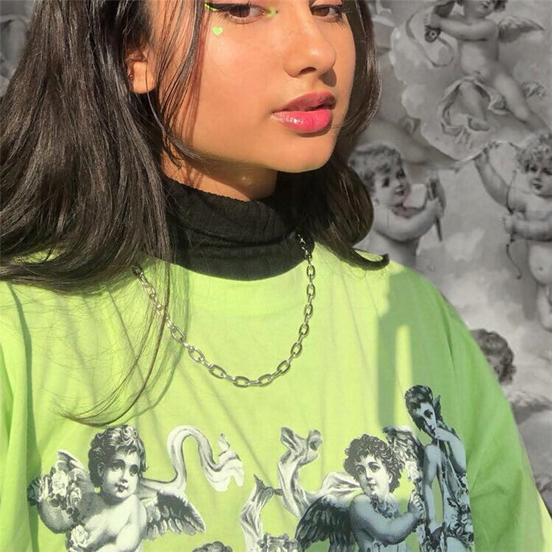 9d3f063c1 BOOFEENAA Angel Print Lime Neon Green T Shirt Women Summer Tops 2019  Streetwear Vintage Casual Oversized Graphic Tees C94 AA51-in T-Shirts from  Women's ...