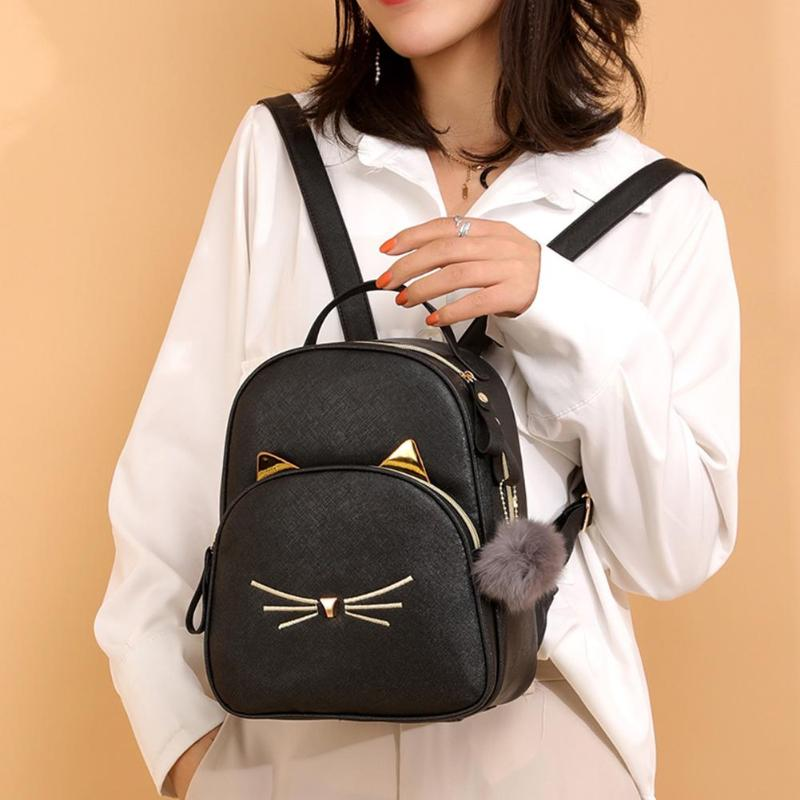 Cute Cat Printing Teenagers Mini Backpack Women PU Leather School Bags Girl Cartoon Cat Square Satchel Light Small Shoulder Bag