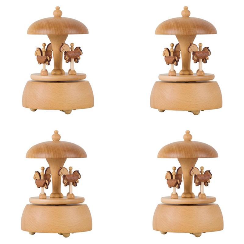 Rétro carrousel boîtes à musique en bois boîte à musique artisanat cadeaux d'anniversaire décor