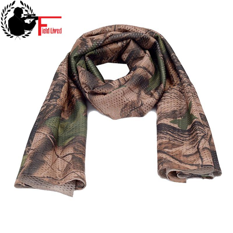 Unisex Camouflage   Scarf   Tactical Multifunctional Army Mesh Camo Airsoft Paintball   Scarf     Wrap   Face Mask Shemagh Outdoor Hunting