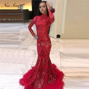 Image 2 - Luxury Feather Red Sequin Evening Dress Long Sleeve Islamic Dubai Kaftan African Prom Dresses Vestido De Festa Muslim Party Gown