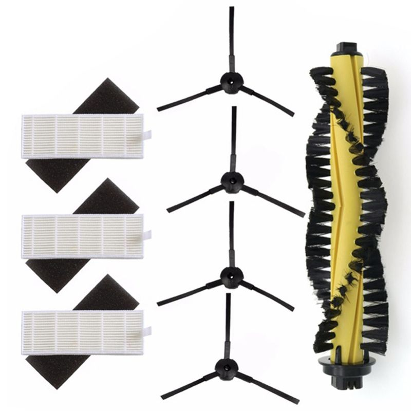 Ev Aletleri'ten Elektrikli Süpürge parçaları'de 1xMain fırça + 3xHEPA filtre + 3xSponge + 4xSide fırçaları makinesi elektrikli süpürge parçaları polaris chuwi ilife a4 T4 X432 X430 X431 title=