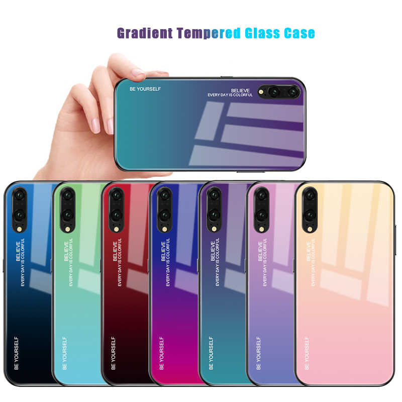 Gradient Aurora Color Case For Huawei Nova 5T 5 5i Pro Honor 20 Pro P20 Lite 2019 Mate 20 10 Pro Tempered Glass Protective Cover