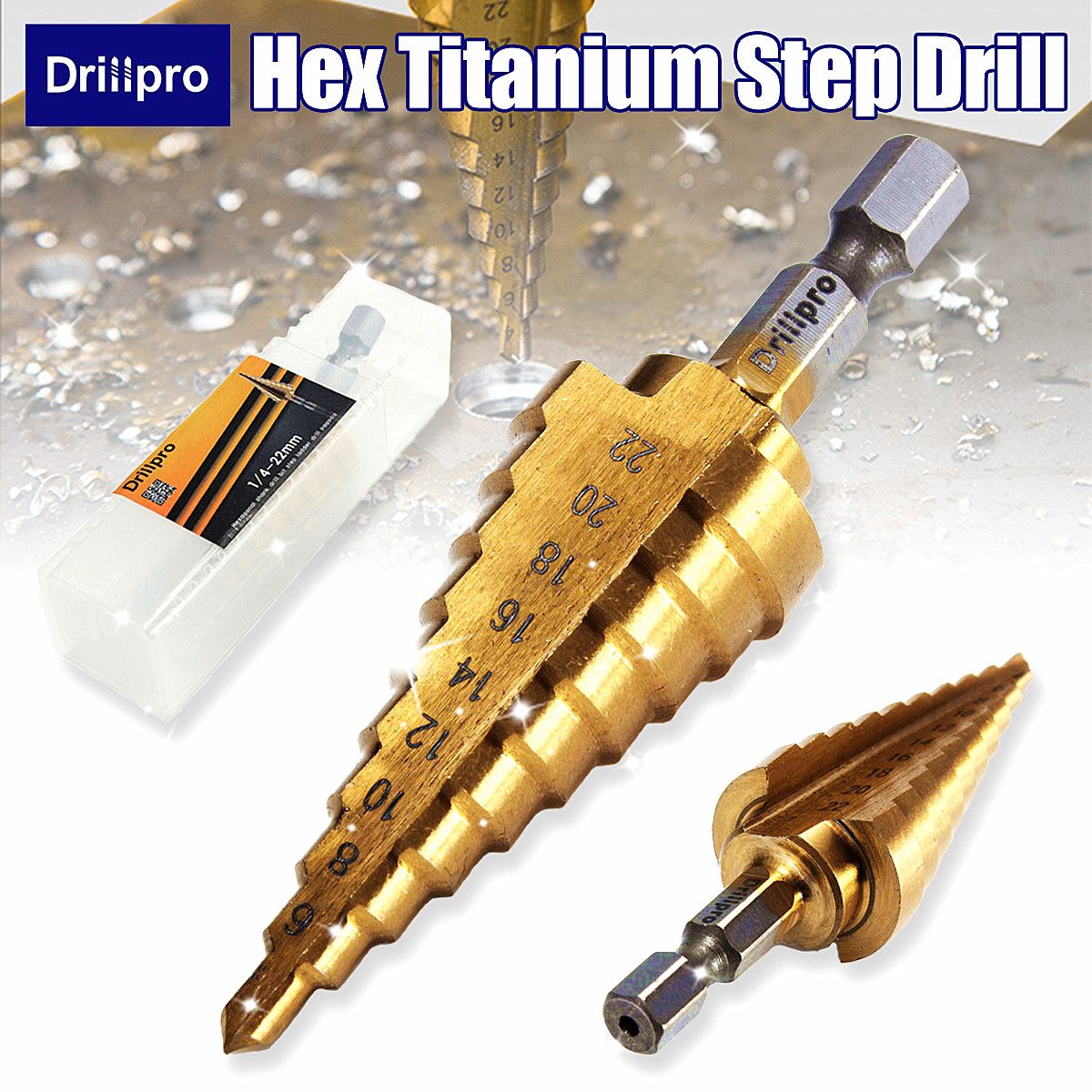 Drillpro 1PC Hex Titanium Step Cone Drill Bit Hole Cutter 4-22MM HSS 4241 For Sheet Metal Drilling Woodworking Tools
