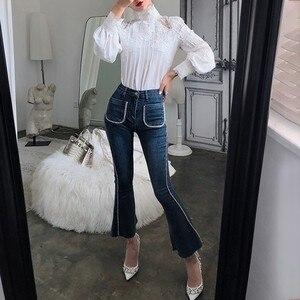Image 4 - CHICEVER הקיץ מזדמן מוצק תחרה חלול את נשים חולצת צווארון עומד פאף שרוול Slim בתוספת גודל נשי עליון בגדי 2020 חדש
