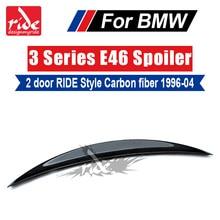 For BMW E46 2Door RIDE Style High-quality Carbon Fiber Rear Trunk Spoiler Wing Lip 3-Series 318i 320i 323i 325i 328i 330 1996-04 pao motoring coilover shock absorber for bmw e46 suspension 3 series 318i 320i 325i 328i non adjustable damper struts kit