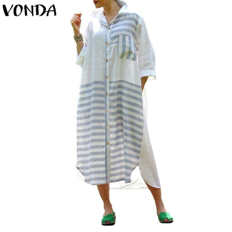 VONDA Frauen Baumwolle Mitte wade Kleid 2018 Herbst Frühling Casual Revers Langarm Taschen Gestreiften Splice Asymmetrische Split Vestidos
