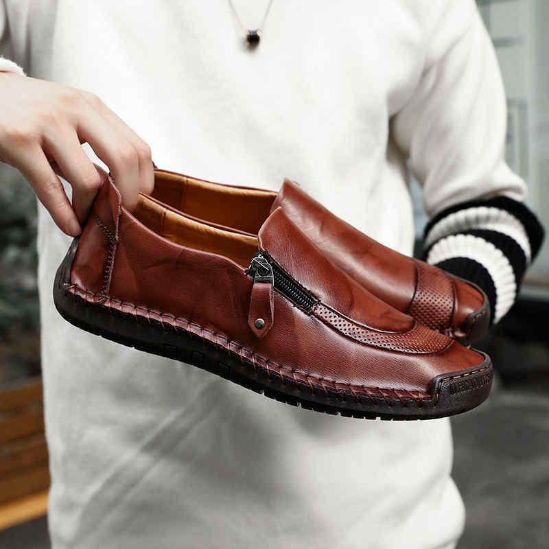 2019 Big Size 38-48 Brand Genuine Leather Men Shoes Fashion Casual Shoes Breathable Men Flats Loafers Men's Driving Shoes(China)