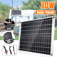 30W 12V Portable Solar Panel USB Monocrystalline silicon Solar Panel with Car Charger for Outdoor Camping Emergency Light