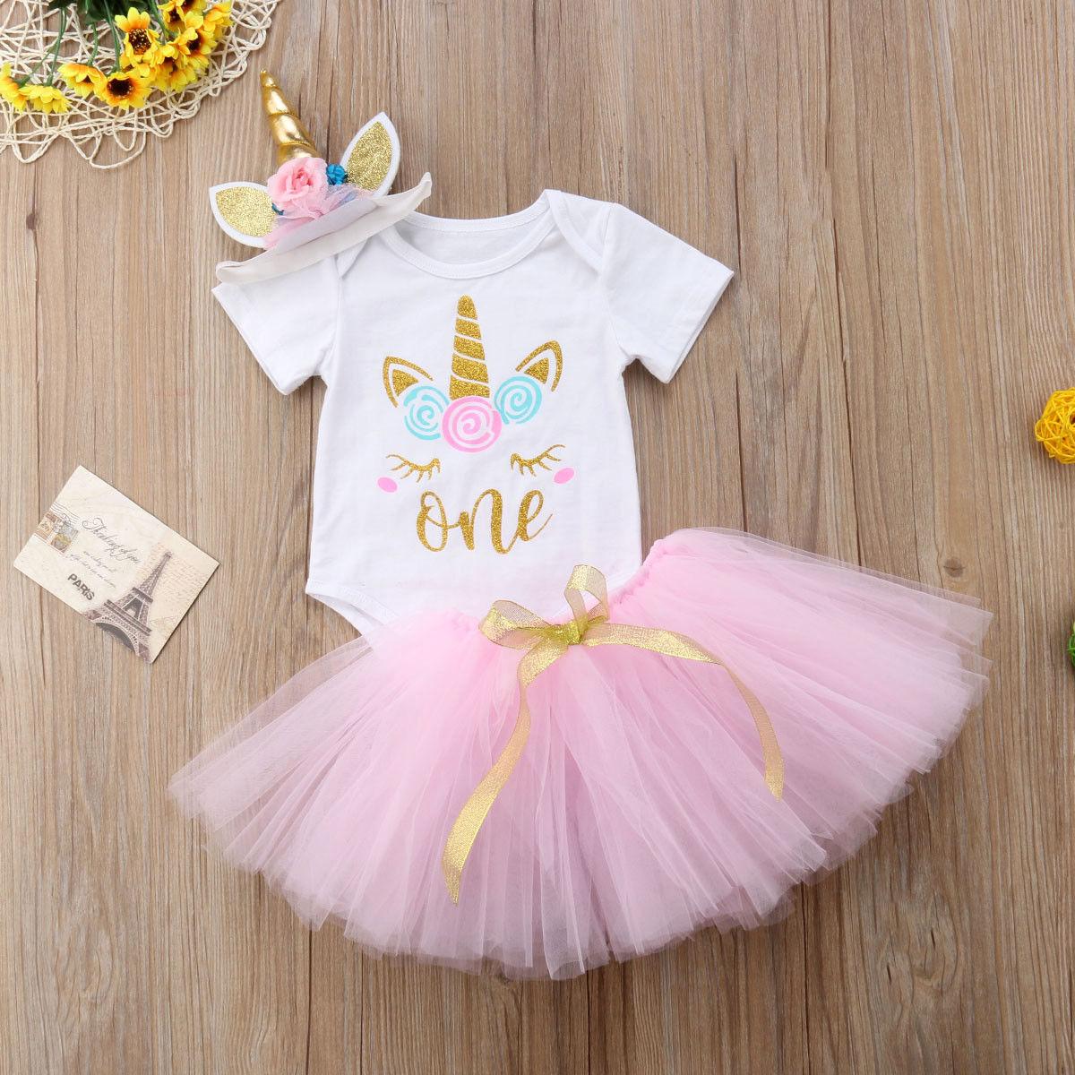 1a25a75e1 3 piezas chicas unicornio vestido de Tutu de princesa fiesta de cumpleaños  de las niñas vestido de los niños traje de Halloween mameluco + vestido ...