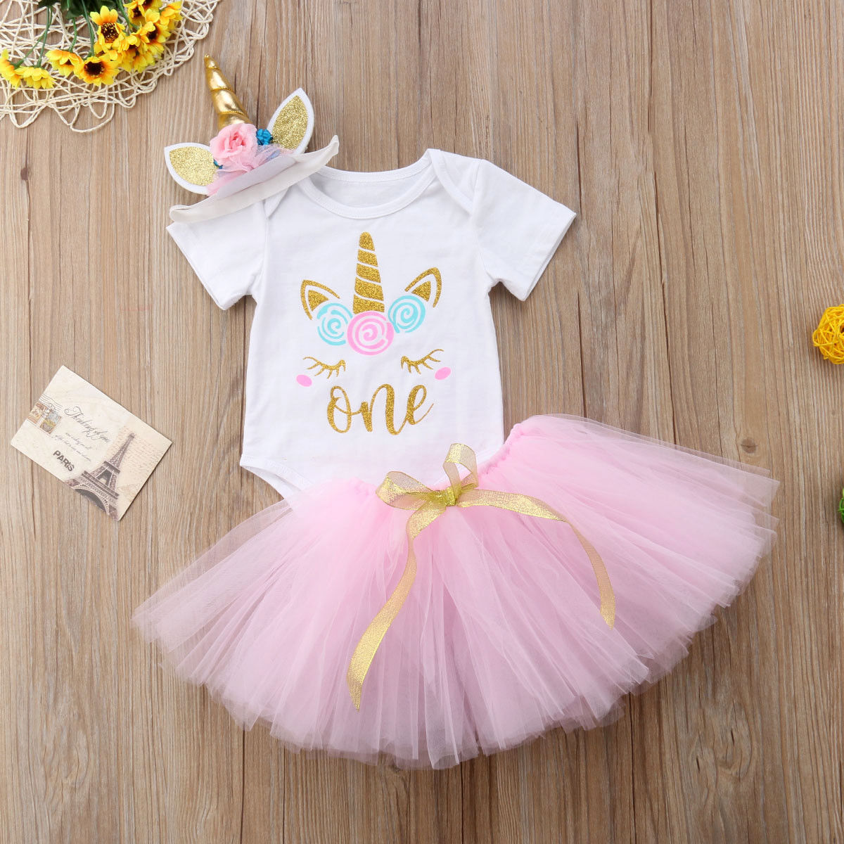 3Pcs Unicorn Tutu Dress...