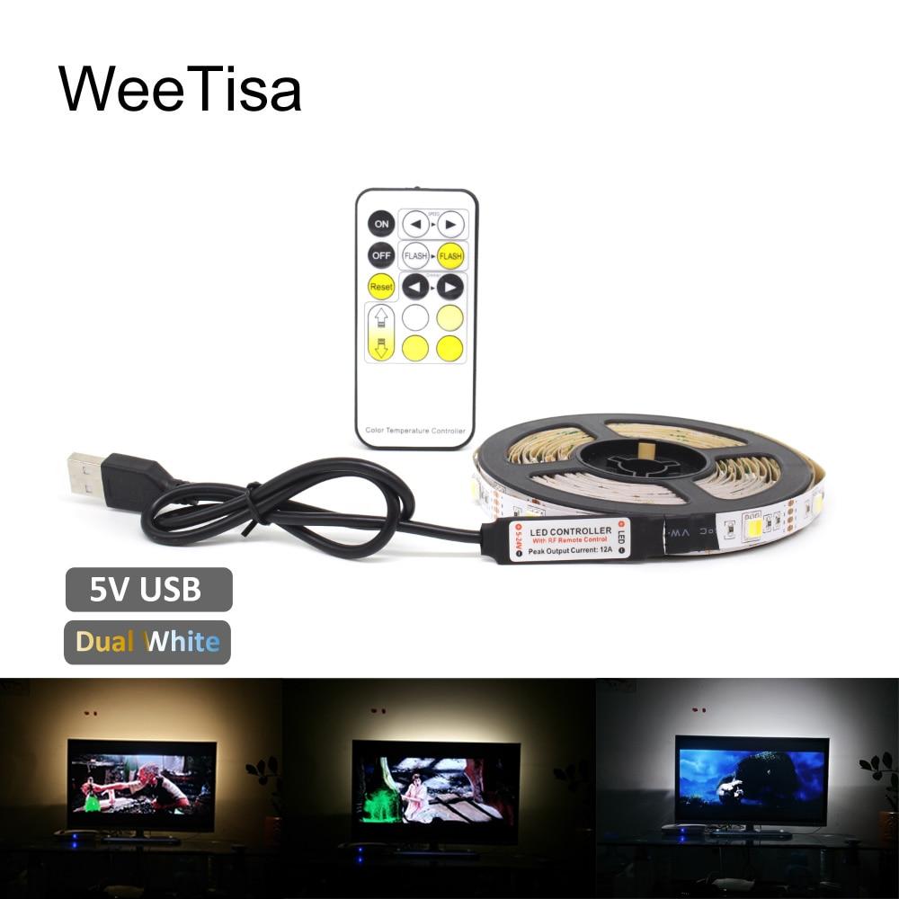 Dual White USB LED Strip Tape Light Remote 5V 5050 Flexible Ribbon Desktop Decor Lamp 1M 2M 3M 5M For TV LCD Background Lighting