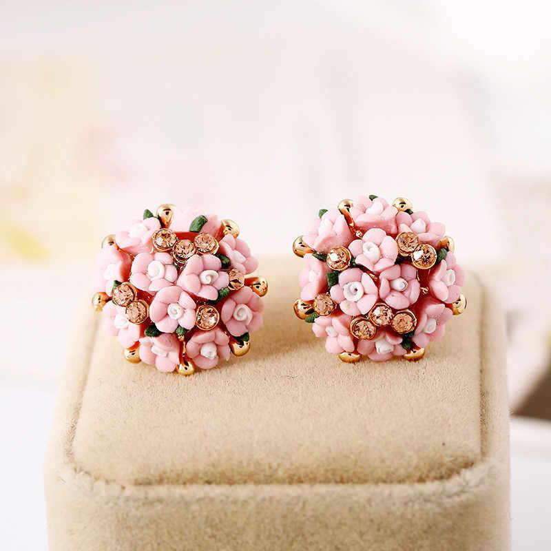 1 סט פרח אוזן הרבעה טבעת סט לנשים תכשיטי בוהמיה חתונת הבטחת טבעות סט קריסטל עגילים גדולים עבור נשים מתנות נקבה