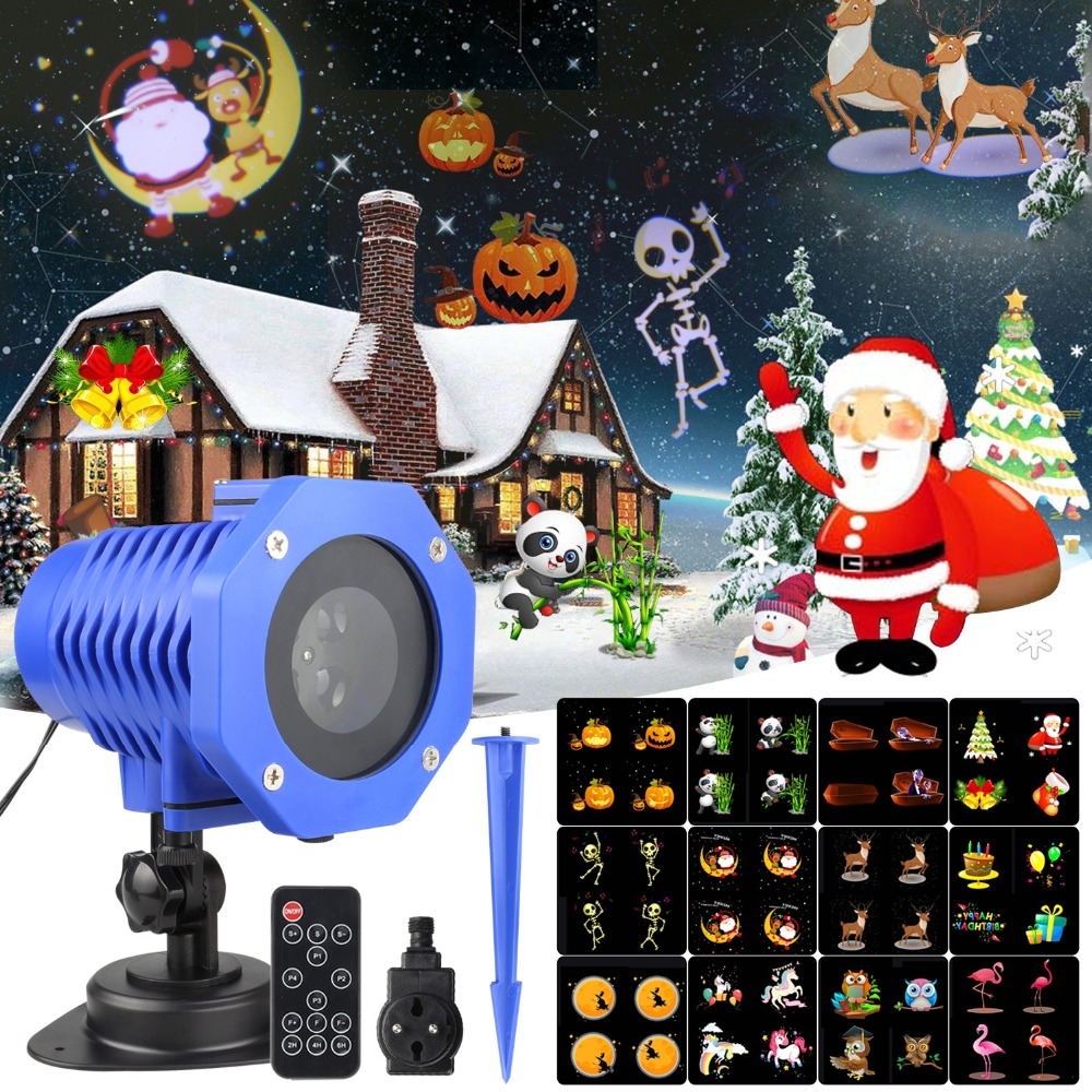 12 Patterns LED Christmas Laser Snowflake Projector Waterproof IP65 Outdoor Garden Projector Spotlight Disco Xmas Lights CF577