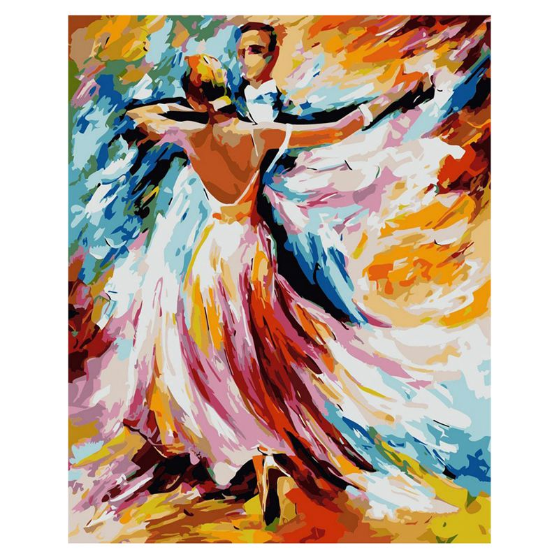 Diy Oil Painting, Paint By Number Kit-Tango 16x20inch (Frameless)Men And Women Double Dance
