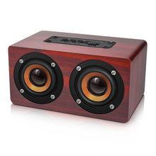 Portable speaker Retro Wooden HIFI Wireless Dual Loudspeakers 3D Surround Speaker red soundbar Bluetooth column radio altavoz #8