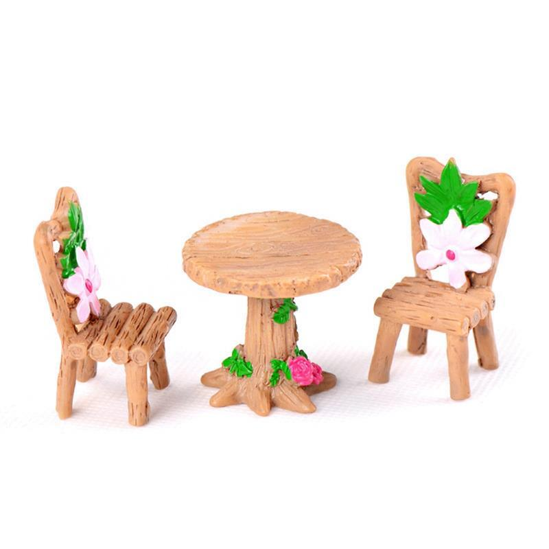 3pcs/Set Table Chair Resin Craft Micro Landscape Ornament Fairy Garden Miniature Terrarium Figurine Bonsai Decoration(China)