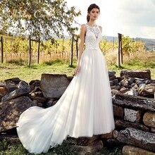 Ashley Carol Appliques A-Line Wedding Dress 2019 Sleeveless