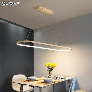Image 2 - Retângulo moderno led pingente lâmpadas para sala de estar restaurante quarto decorativo luz pingente lamparas AC85 260V controle remoto