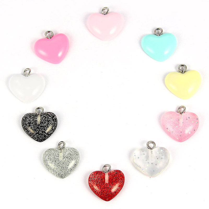Cute Colorful Shine Love Heart//Horse Horn Resin Charms Fit DIY Bracelet Necklace