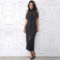 2019 New Fashion Off Shoulder Beads Party Dress Female Rivet Middle Elegant Dresses High Neck Bodycon Dress