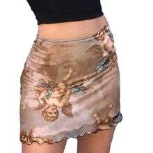 Women Summer Angel Print Mini Skirt Vintage Ruffled Mesh Slim Pencil Sk
