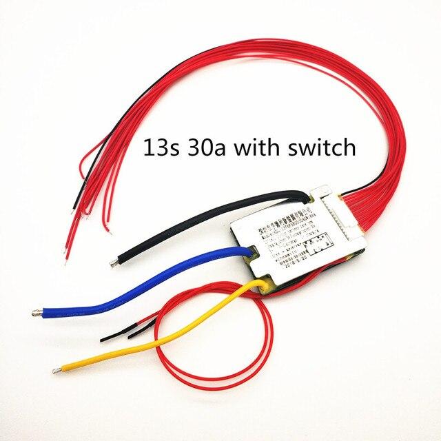 Bms 13s 30a con interruptor de encendido y apagado, voltaje de carga 54,6 v, baterías de litio bms pcm 30a