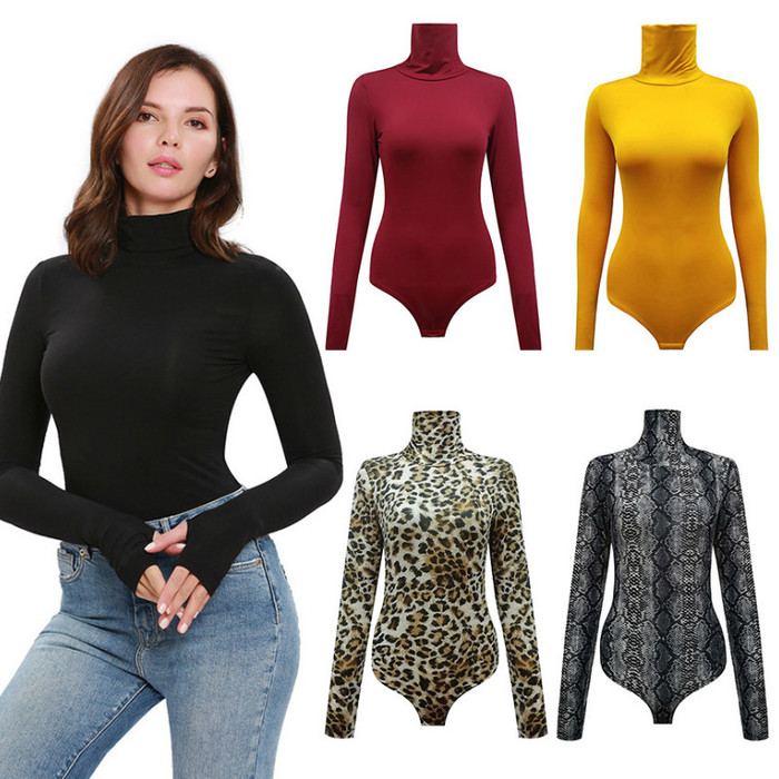 2019 Cotton Long Sleeve High Neck Skinny Bodysuit 2019 Autumn Winter Women Black Gray Solid Sexy Body Suit Tops plus size XS-3XL