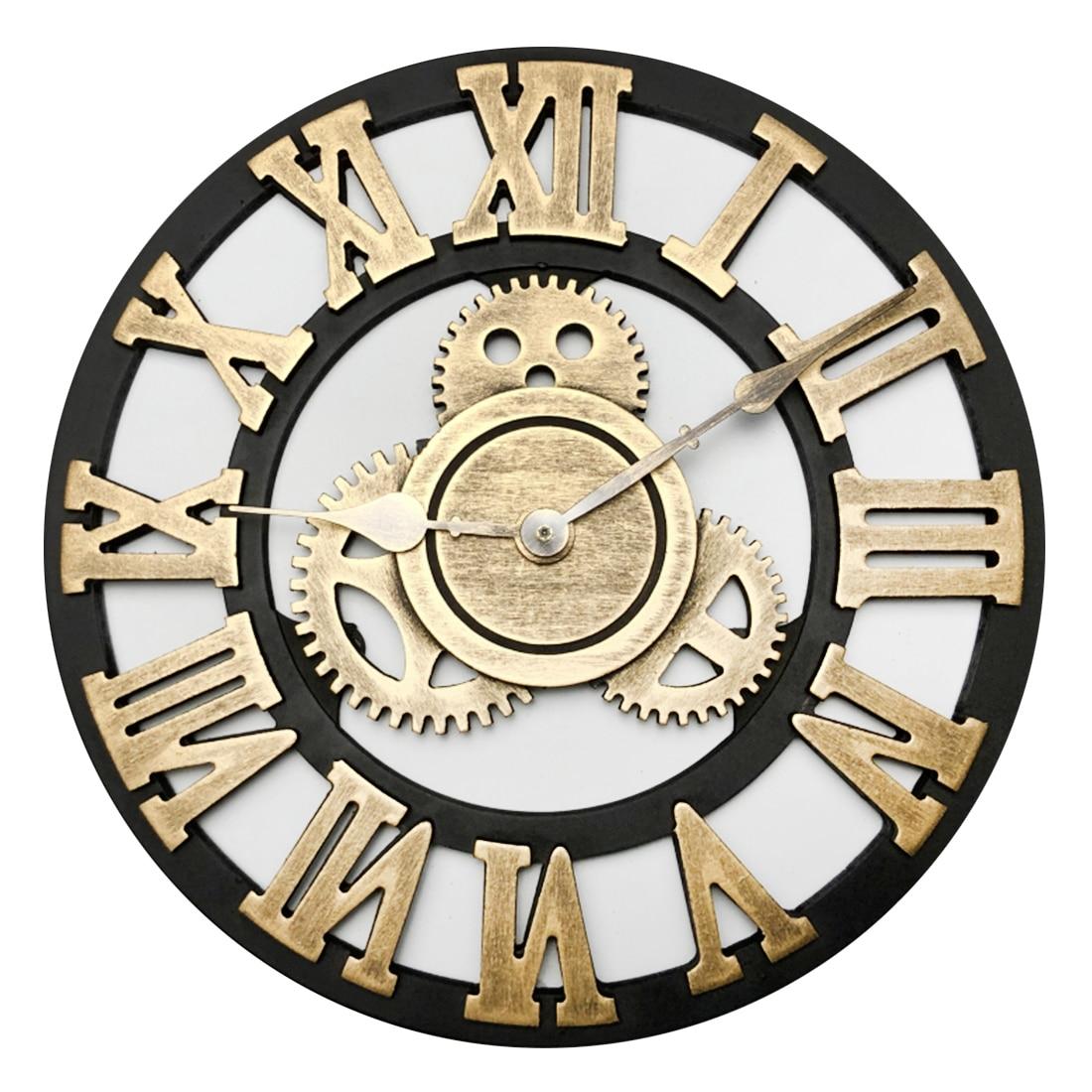 30cm Wall Clock Pointer Big Mechanism Retro Wooden Gear Hanging Mute Accessories