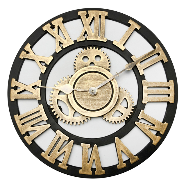 30cm Retro Gear Clock Silent Wall Clocks For Home Decor Retro Golden Rome Numbers Creative Clock Face Wall Decor Watch