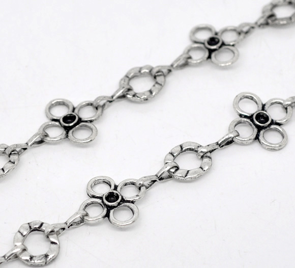 Lovely 1M Silver Color Flower Circle Link Chain Findings (B14117)
