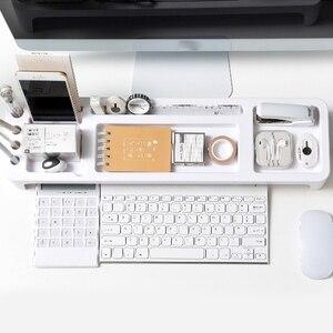 Image 5 - Masa üstü depolama rafı, çok fonksiyonlu ofis depolama malzemeleri, bilgisayar klavye sıralama raf, masaüstü düzenleyici