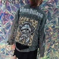 QING MO Skull Patchwork Denim Jacket Women Pins Blue Cowboy Jacket Holes Jacket with Metal Chain Streetwear Jeans Coat ZLDM062