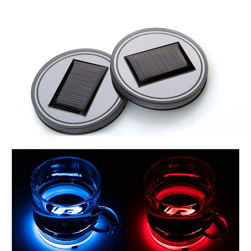 Auto Parts and Vehicles Car & Truck Exterior Parts 2PCS Car Solar Cup Holder Bottom Pad LED Light Cover Trim Atmosphere Lamp Lights