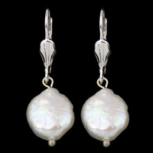 Handmade Natural Real Freshwater Pearl Lever Back Earring 11-12mm White Keishi Pearl Beaded Charm Dangle Drop Earrings Wedding(China)