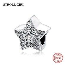 StrollGirl charms silver 925 with zirconia five star beads fit original Pandora bracelet diy fashion jewelry making women gift