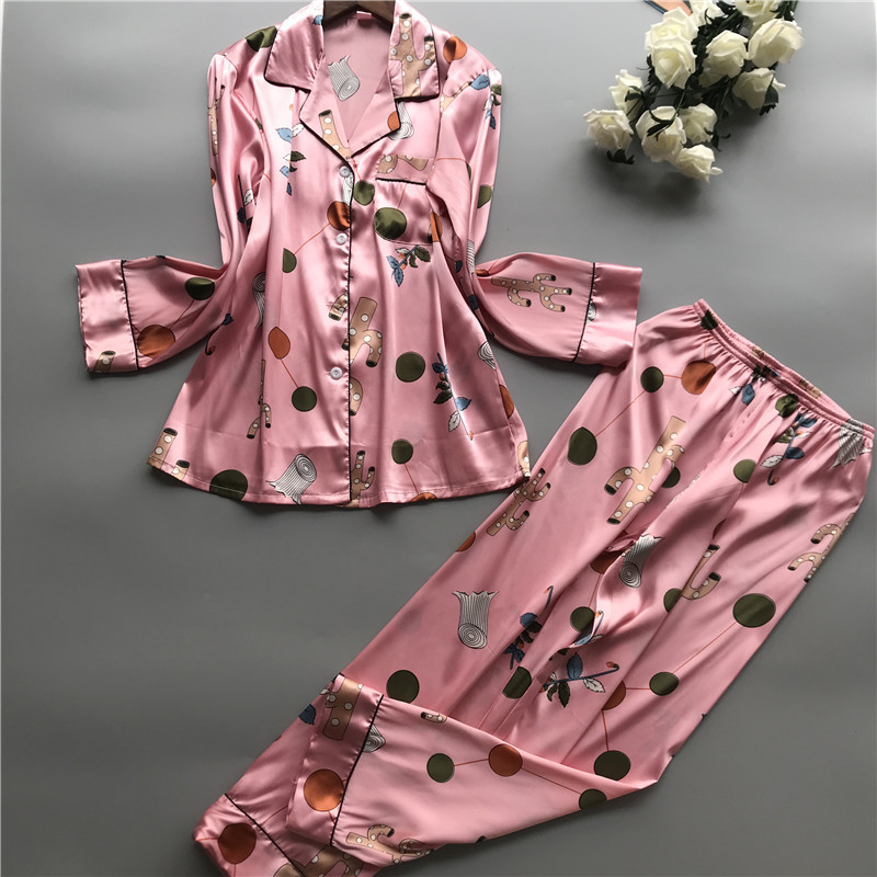 Flower Print 2019 Summer Women   Pajamas     Sets   Satin Pyjamas with Pants Long Sleeve Female Nightsuit Sleepwear Pijama Mujer