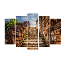 Canvas Wall Art Modular Pictures Printed Paintings 5 Pieces Stone wall staircase Living Room Wall Art Home Decor Frame Cairnsi