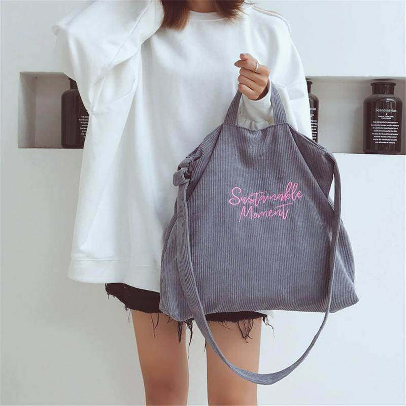 Canvas Tote Handbag-Bag Shopping-Shopper Messenger Female Corduroy Korean Fashion Casual