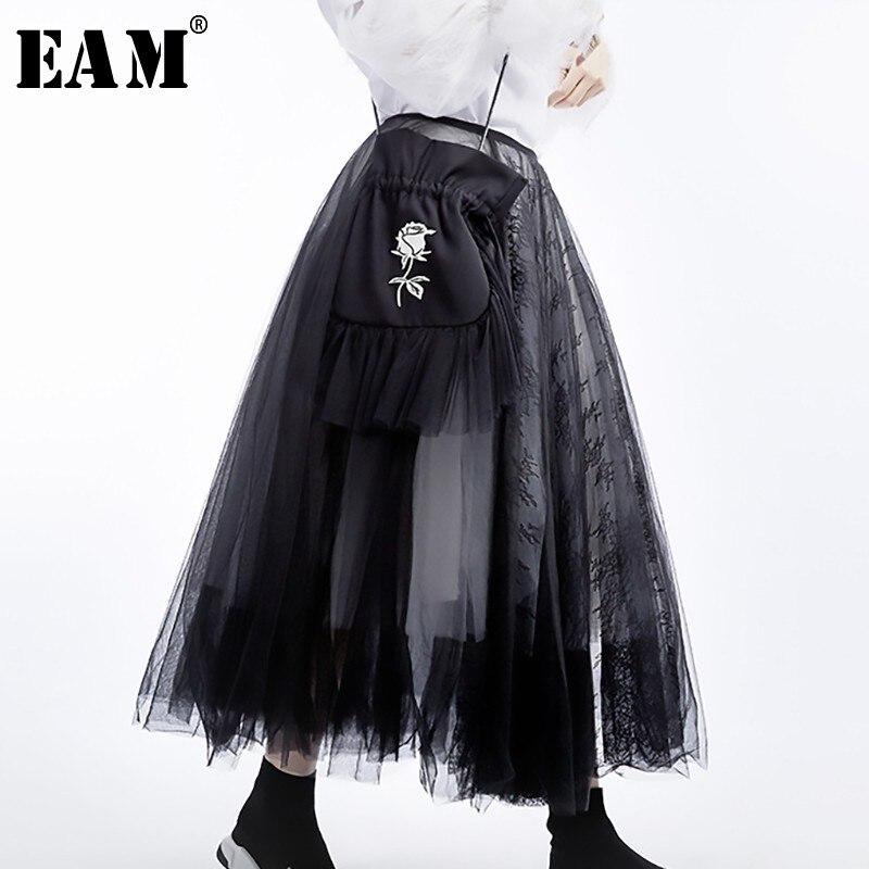 [EAM] 2019 New Spring Summer High Waist Black 5 Layers Mesh Stitc Temperament Half-body Skirt Women Fashion Tide JT136
