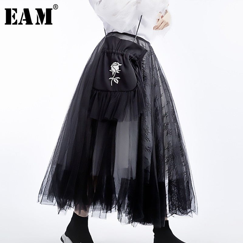 [EAM] 2020 New Spring Summer High Waist Black 5 Layers Mesh Stitc Temperament Half-body Skirt Women Fashion Tide JT136